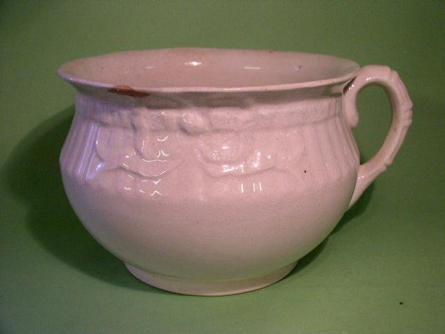 A Belleek Melvin Ware chamber pot,