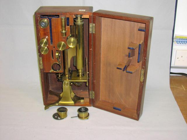 A Smith & Beck Brass Compound Monocular Microscope, English, circa 1880,