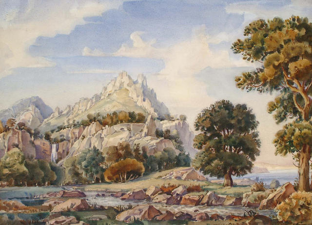 Konstantin Fedorovich K. Bogaevisky (Russian, 1872-1943) Mountainous landscapewatercolour