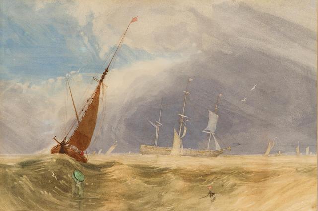 Miles Edmund Cotman (British, 1810-1858) Shipping in a breeze 22.5 x 34 cm. (9 x 13 1/2 in.)