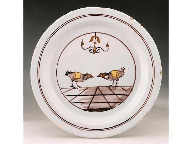 A rare London delft plate mid 18th century