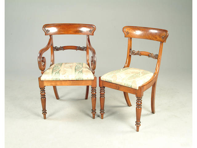 A set of eight Victorian mahogany dining chairsincluding two elbow chairs