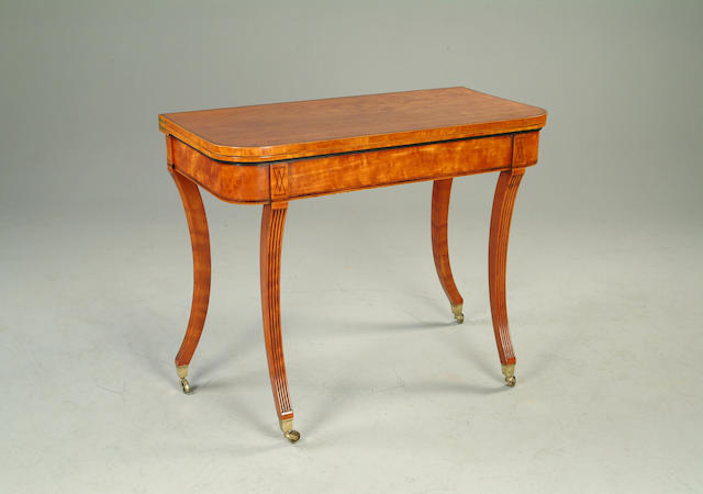 A satinwood card table