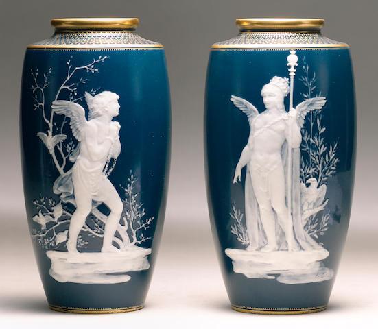 A pair of Minton pate sur pate vases by Louis Solon circa 1900