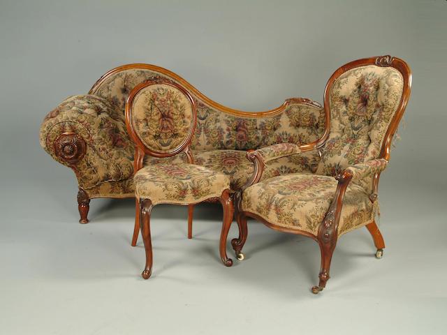 A Victorian walnut matched parlour suite