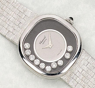 Chopard. A lady's 18ct white gold bracelet watch 'Happy Diamonds' 1980s
