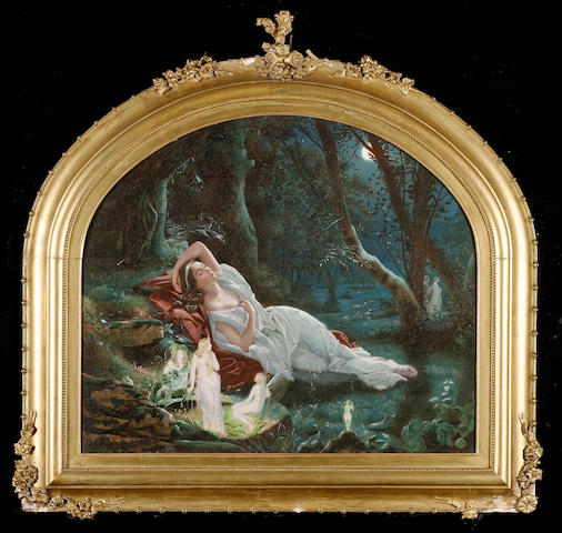 John Simmons (British, 1823-1876) Titania sleeping in the moonlight protected by her fairies