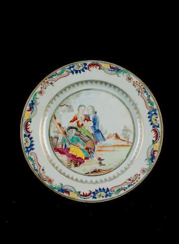 A rare famille rose European-subject plate Qianlong
