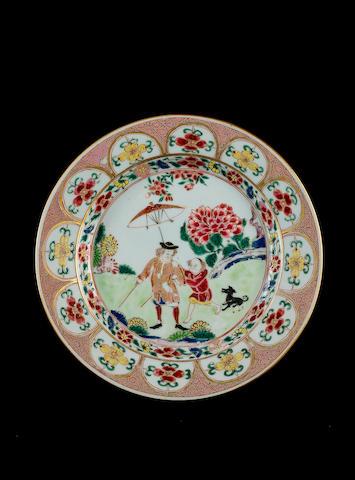 A famille rose European-subject plate Qianlong