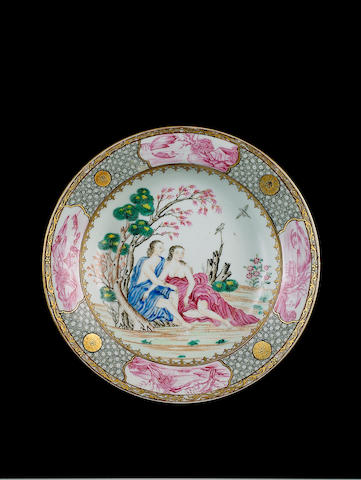 A famille rose European-subject 'Cupid and Psyche' soup plate Qianlong
