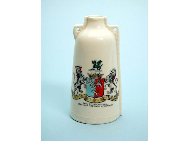 A WH Goss model of a Newbury Leather Bottle with matching arms and Masonic symbols,