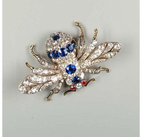 A late Victorian sapphire and diamond bee brooch,