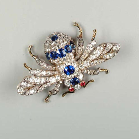 A late Victorian sapphire and diamond bee brooch