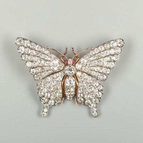 A diamond-set butterfly brooch,