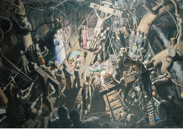 "Mark Symons (1887-1935) ""Were you there when they crucified My Lord?"" 210.5 x 148.5 cm. unframed"