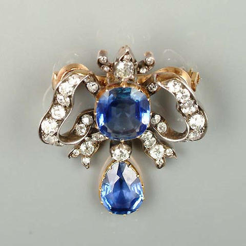 A late 19th century sapphire and diamond brooch/pendant