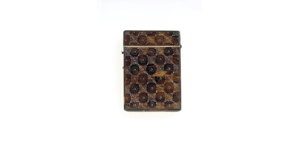 A early Victorian silver inlaid and pressed tortoiseshell card case, probably circa 1840,