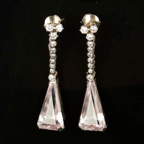 A pair of elegant morganite and diamond pendant earrings,
