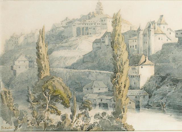 Francois Louis Thomas Francia (French, 1772-1839) A continental town 17.2 x 22.8 cm. (6 3/4 x 9 in.)
