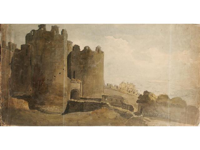 John Varley O.W.S. (British, 1778-1842) Conway Castle 29.2 x 54.6 cm. (11 1/2 x 21 1/2 in.) unframed