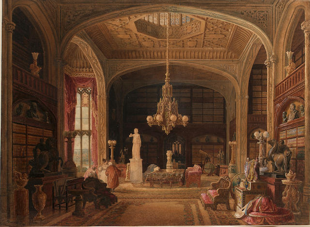 Thomas Kearnan (British, fl. 1821-1850) The Virtuoso's Library 30.5 x 42 cm. (12 x 16 1/2 in.)
