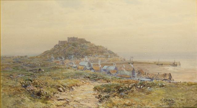 Charles Brooke Branwhite (British, 1851-1929) Mount Orguiel Castle, Jersey 34 x 61 cm. (13 1/2 x 24
