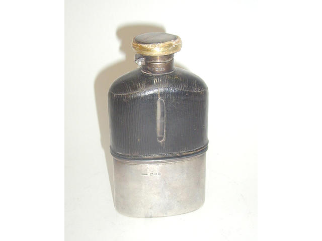 A mounted half leather and glass hip flask, by Asprey & Co Ltd, 1918,