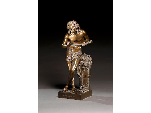 Francisque Joseph Duret (French, 1804-1865): A bronze figure of 'Improvvisatore'