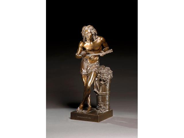 Francisque Joseph Duret (French, 1804-1865): A bronze figure of 'Improvvisatore'