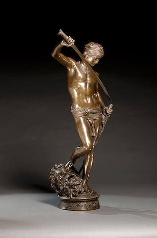 Marius Jean Antonin Mercié (French, 1845-1916): A bronze figural group of David and Goliath