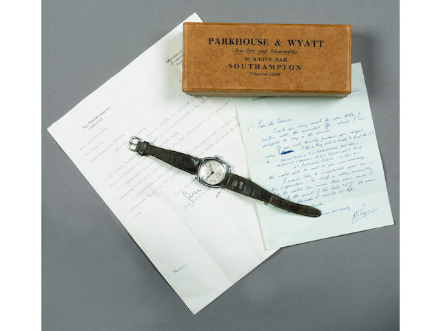 Formerly the Property of the late R J Mitchell. A Services Navigator wristwatch, 1930's,