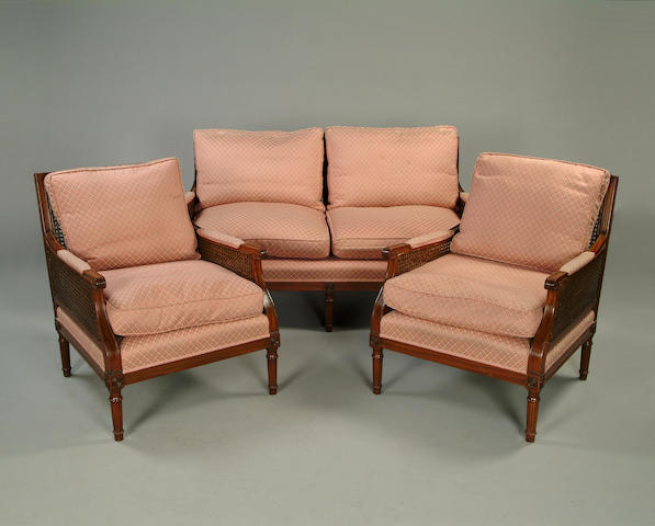 A mahogany framed begere suite