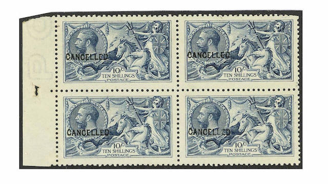 "1915 De La Rue: 10/- blue optd. ""CANCELLED"" type 24, in a rare marginal block, small imperfections,"