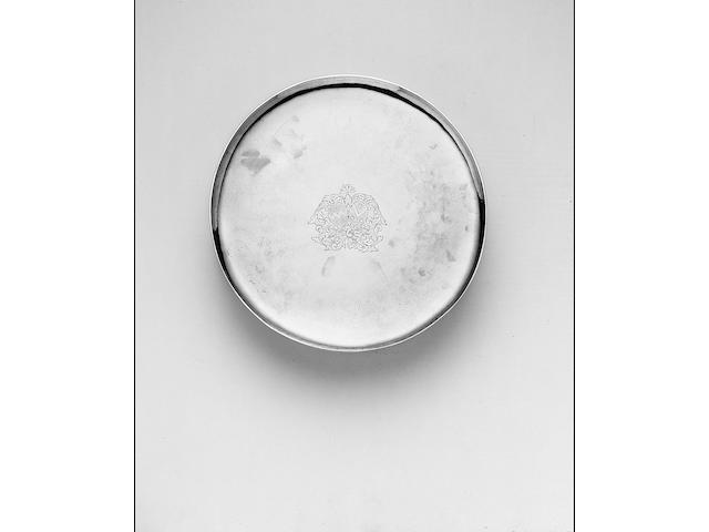 """An early 18th Century Belgian footed salver or tazza, Maker's mark unidentified, Mons, date letter """"S"""", probably for 1713/14,"""