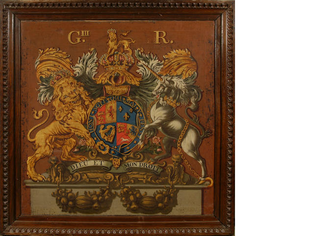 English School (late 18th Century) A George III Royal coat of arms 101.5 x 101.5cm (40 x 40in).