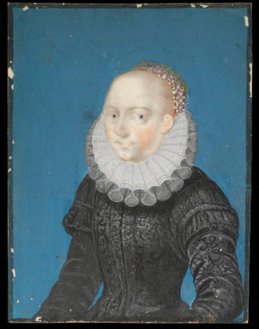 English School (18th Century) A miniature portrait of a lady wearing a 16th Century black dress with white ruff, her hairnet incorporating laurel leaves rectangular, 100mm. high, in a gilded wooden frame.