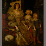English School (17th Century) A portrait of a lady and her children in court costume c.1620, she seated in an armchair wearing an embroidered and beribboned gown with lace collar and garnet jewellery, a dog beneath her chair 160 x 145cm (63 x 57in).