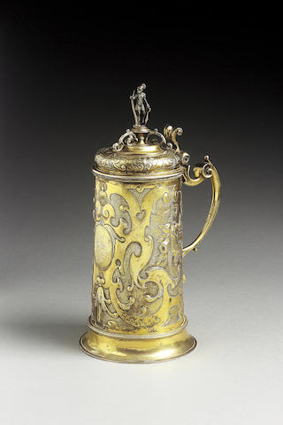 A late 17th Century German silver-gilt tankard, by Lukas Neusser, Augsburg circa 1630, and bearing e