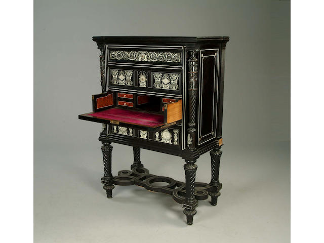 A fine 19th century ebony and ivory marquetry secretaire cabinet on standby Charles Hunsinger