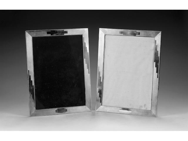 A large pair of Art Deco silver upright rectangular photograph frames, by B. Gordan, Birmingham 1933,