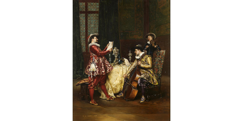 Adolphe Alexandre Lesrel (French 1839-1929) The music party 58 x 48 cm. (22 3/4 x 19 in.)