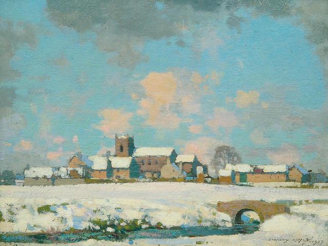 Stanley Royle R.B.A., A.R.W.A. (1888-1961) A village scene in the snow 29 x 39.5cm