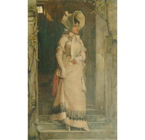 Norman Garstin (1847-1926) A fashionable Parisien stood on a doorstep  53.5 x 35cm