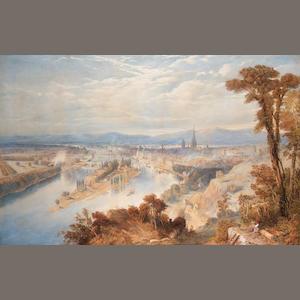 Thomas Charles Leeson Rowbotham N.W.S., (British, 1823-1875) Rouen from St. Catherine's Hill, France