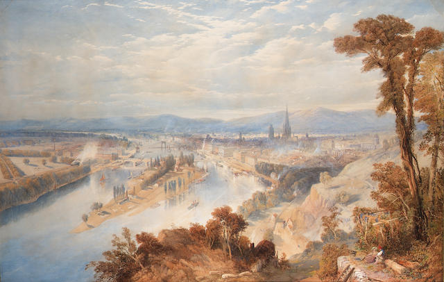 Thomas Charles Leeson Rowbotham N.W.S., (British, 1823-1875) Rouen from St. Catherine's Hill, France 70 x 107.9 cm. (27 1/2 x 42 1/2 in.)