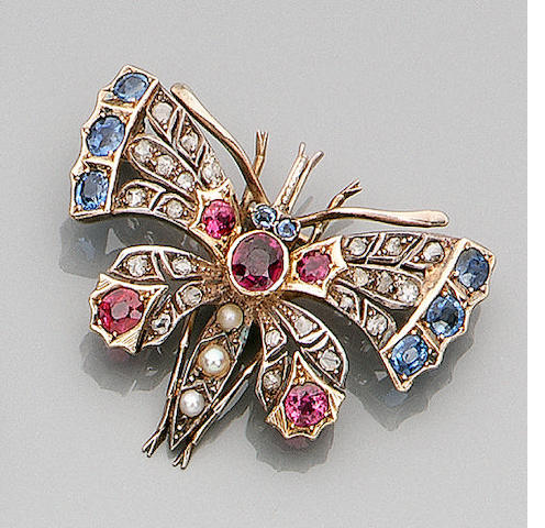 A late Victorian multi gem-set butterfly brooch,