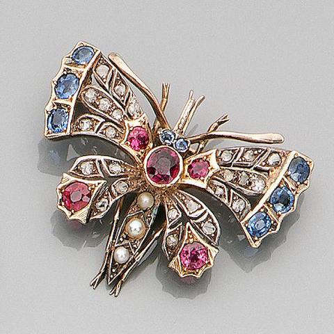 A late Victorian multi gem-set butterfly brooch,