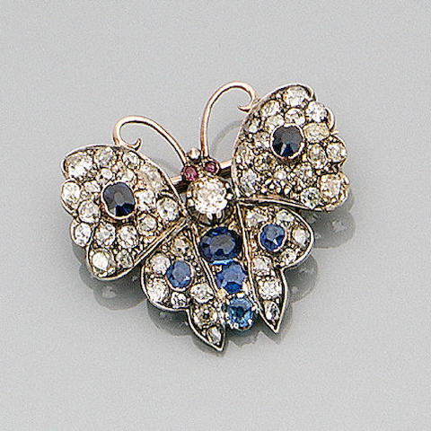 A late Victorian sapphire and diamond butterfly brooch,