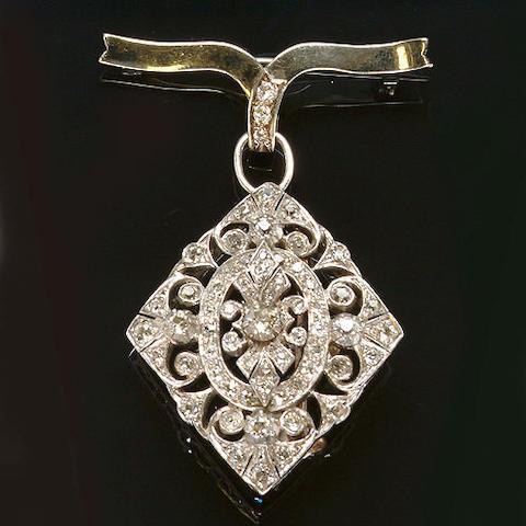 A late Victorian diamond brooch/pendant