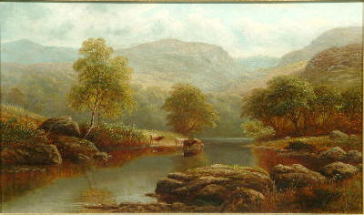 William Mellor (1851-1931) A river landscape with cattle watering, possibly on the Wharfe; A Lakelan